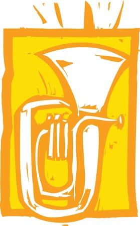 tuba: Woodcut image of a tuba on an orange background.