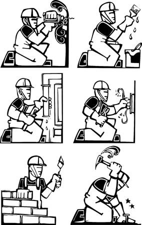 Set of men in construction jobs. Stock Illustratie