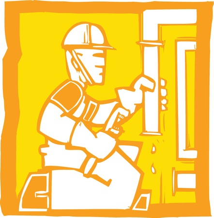 Icon in woodcut style of plumber fixing pipes.