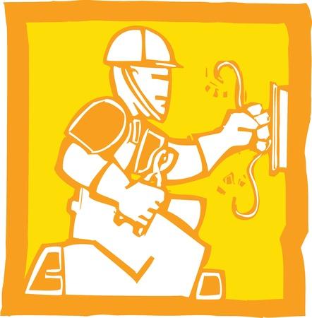 電気技師の木版画のスタイルのアイコン  イラスト・ベクター素材