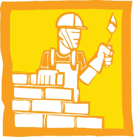 Icon in a woodcut style of a mason laying bricks Stock Vector - 9333494