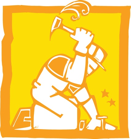 Icon in a woodcut style of a workman with a hammer Stock Vector - 9333499