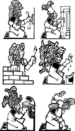 Set of men in construction jobs with traditional Mayan motifs.