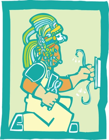toltec: Mayan Temple style image of an electrician Illustration