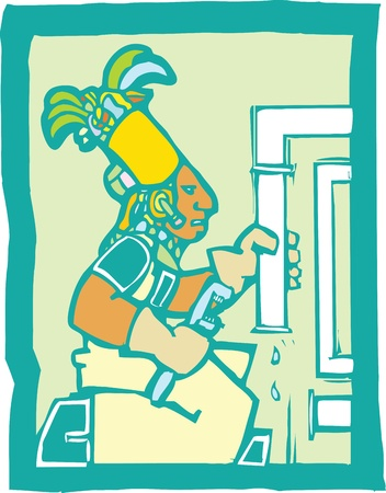 Mayan Temple style image of a plumber fixing pipes.