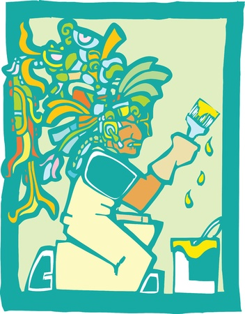 toltec: Mayan Temple style image of a professional house painter Illustration