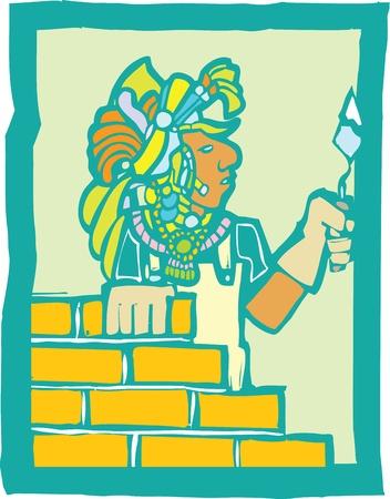 Mayan Temple style image of a mason laying bricks