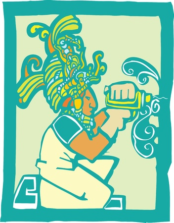Mayan Temple style image of a workman with a drill