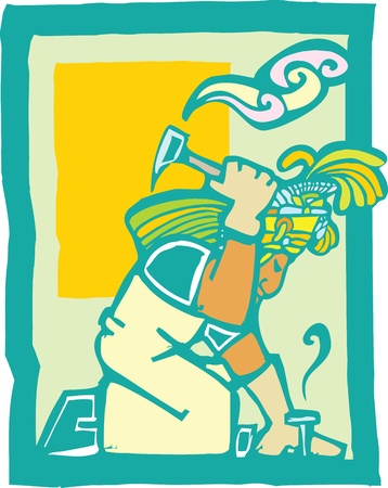 Mayan Temple style image of a workman with Hammer Stock Illustratie