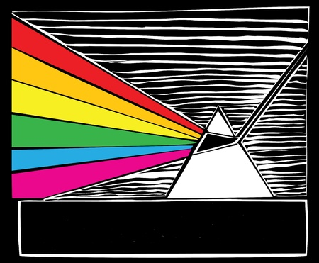 prisma: Prisma rompiendo la luz en un arco iris.