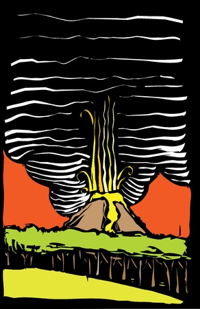 Color image in woodcut style of a volcano erupting. Illustration