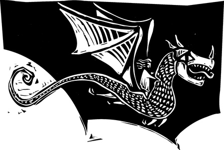 Woman riding on the back of a dragon in a woodcut style image. Stock Vector - 9430049