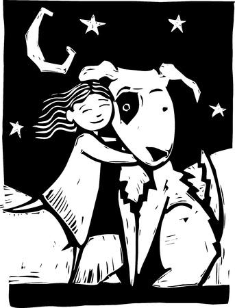 woodcut: Girl gives a really big dog a hug. Illustration