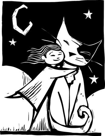 big cat: Girl gives a really big cat a hug.