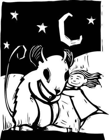 Girl gives a really big mouse a hug. Stock Vector - 9545412