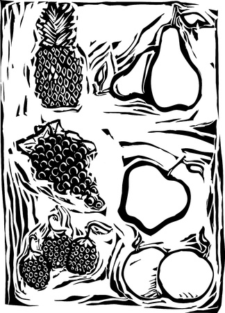 Pineapple, Pears, grapes, apple, oranges and raspberrys in a woodcut style image of fruit.