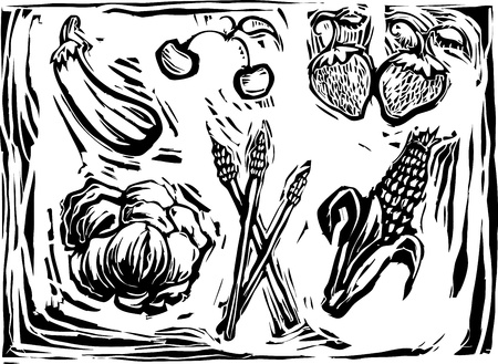 Eggplant, cherry, strawberries, lettuce, asparagus and corn in a woodcut style image of produce. Stock Illustratie