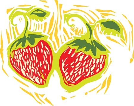 Aardbeien in een beeld van de houtdrukstijl van opbrengst. Stock Illustratie