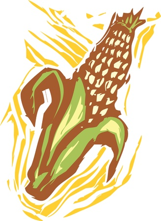 Corn in a woodcut style image of produce.