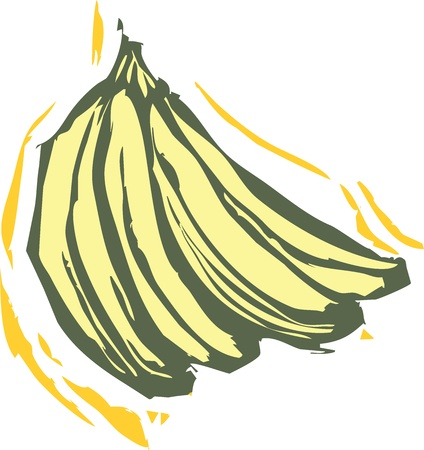 Bunch of bananas in a woodcut style image of produce.
