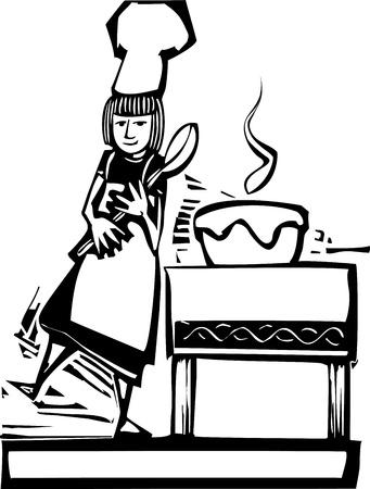 Vrouwenchef-kok met een grote lepel en een het bewegen kom. Vector Illustratie