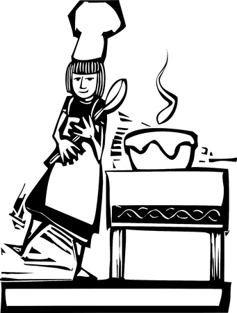 Woman chef with a big spoon and a stirring bowl. Vector