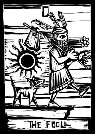 ingannare: il pazzo � la prima immagine in un mazzo di carte dei Tarocchi. Vettoriali