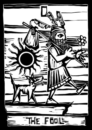 vagabond: the fool is the First image in a tarot card deck. Illustration