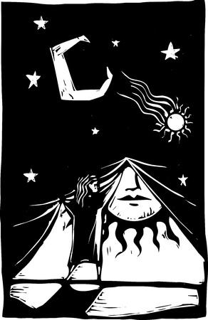 Ragazza sollevamento una tenda di notte per scoprire la luce del giorno dietro di esso. Archivio Fotografico - 9688138