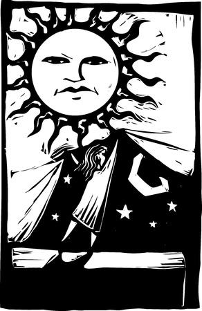 zon maan: Meisje opheffing van een gordijn van zonlicht om te ontdekken de nachtelijke hemel erachter. Stock Illustratie