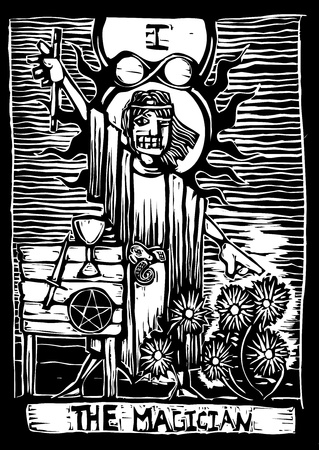 sorcerer: the magician is the second image in a tarot card deck. Illustration