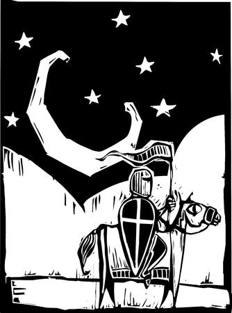 Chevalier monté sur un cheval sous un croissant de lune. Banque d'images - 9688146