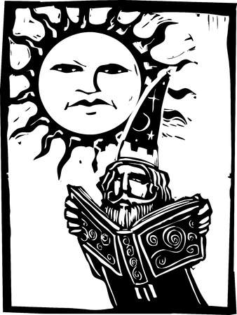 spells: Wizard reading a book beneath a sun with a face. Illustration