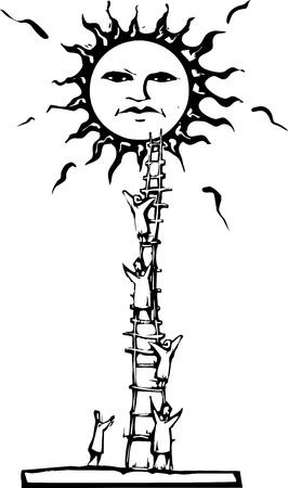 태양에 사다리를 등반하는 사람들. 일러스트