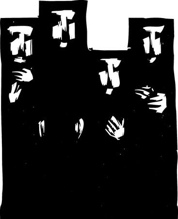 黒のイスラム教徒の hijabs の 4 人の女性。
