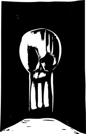 木版画のスタイル頭蓋骨鍵穴の形で。
