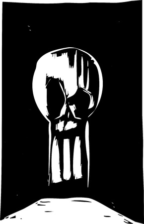 Woodcut style skull in the shape of a keyhole. Illusztráció