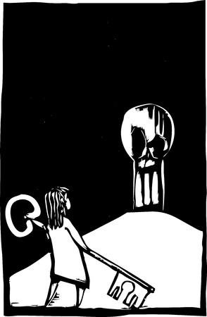 巨大なキーと頭蓋骨とキーホールを持つ少女