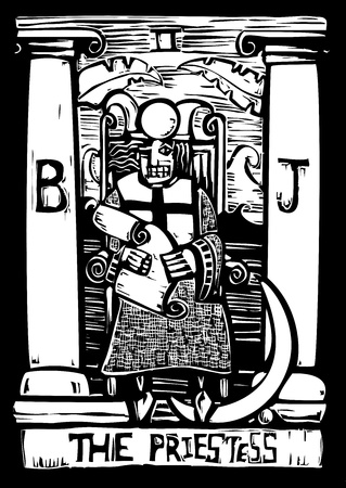Tarot card for number three the Priestess. Illustration