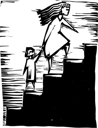 Mother taking toddler up a flight of steps. Illustration