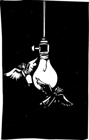 Angels fly around a light-bulb like moths. Illusztráció