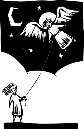 Girl holds a string for an angel like a kite.