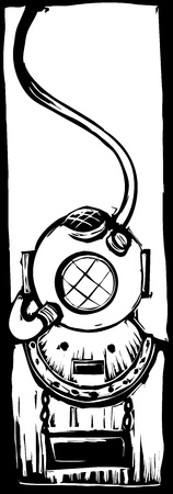 mark V classic diving helmet in a woodcut style.