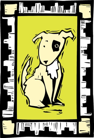 stray dog: Woodcut image of a dog with african inspired border. Illustration