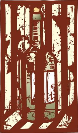 Distressed woodcut image of a wine bottle Illustration