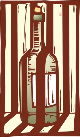Woodcut image of a wine bottle behind the shadows of bars. Illustration