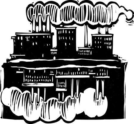 slave: Two factories with one upsidedown below the other. Illustration