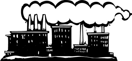 billowing: Factory billowing smoke from its stacks. Illustration