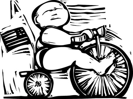 congress: fat baby riding a tricycle in an economic metaphor Illustration