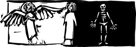 천사의 이미지와 골격 사이에 서있는 사람. 일러스트